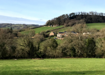 View across Sid Valley - green landscape blue skies and trees